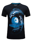 cheap Men's Tees & Tank Tops-Men's Sports Basic / Street chic Plus Size Cotton T-shirt - Animal Print Round Neck / Short Sleeve