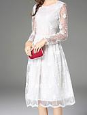 tanie Sukienki-Damskie Wyrafinowany styl Szczupła Spodnie - Solidne kolory Koronka Wysoka talia Biały / Wyjściowe