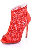 cheap Cocktail Dresses-Women's Shoes Lace Spring / Summer Basic Pump Wedding Shoes Stiletto Heel Peep Toe Red / Blue / Ivory