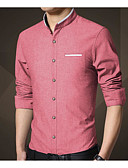 זול גברים-ג'קטים ומעילים-אחיד צוארון עם כפתור עבודה חולצה - בגדי ריקוד גברים / שרוול ארוך