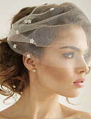 cheap Wedding Veils-One-tier Euramerican Wedding Veil Blusher Veils 53 Acrylic Crystals/Rhinestones Tulle