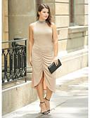 זול שמלות נשים-מידי Ruched מפוצל, אחיד - שמלה צינור נדן שחורה וקטנה מידות גדולות מתוחכם בגדי ריקוד נשים