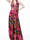 cheap Women's Dresses-Women's Plus Size Cotton Loose Dress - Feathers Print High Waist Maxi Halter Neck / Summer