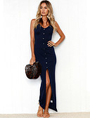 cheap Women's Blouses-Women's Beach Holiday Slim Bodycon Dress - Solid Colored Split Maxi Strap