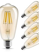 ieftine Tricou Bărbați-5pcs 6W 560 lm E26/E27 Bec Filet LED ST64 6 led-uri COB Decorativ Alb Cald 220V-240V