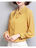 abordables Blusas para Mujer-Mujer Básico Lazo Blusa, Cuello Camisero Un Color / Primavera / Verano / Con Lazo