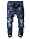 tanie Męskie spodnie i szorty-Męskie Moda miejska Jeansy Spodnie - Plisy, Jendolity kolor