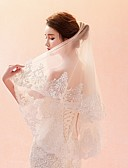 cheap Wedding Veils-One-tier Lace Applique Edge Veil Wedding Veil Elbow Veils Fingertip Veils 53 Pattern Lace Tulle