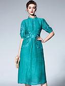זול שמלות נשים-קפלים, אחיד - שמלה גזרת A בגדי ריקוד נשים