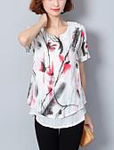 halpa T-paita-Naisten Löysä Painettu Kukka Pluskoko - T-paita / Kevät / Kesä / kukkakuvioisia