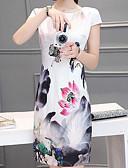 cheap Women's Dresses-Women's Basic Puff Sleeve Shift Dress - Floral, Print
