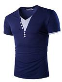 זול טישרטים לגופיות לגברים-אחיד צווארון V סגנון רחוב טישרט - בגדי ריקוד גברים / שרוולים קצרים