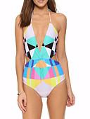tanie Bikini i odzież kąpielowa 2017-Damskie Halter Jednoczęściowy - Odkryte plecy, Kolorowy blok