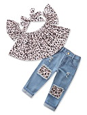 cheap Girls' Clothing Sets-Toddler Girls' Casual Daily / Going out Print / Leopard Hole / Leopard Print / Printing Sleeveless Regular Regular Cotton / Polyester Clothing Set Gray / Cute
