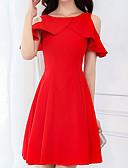baratos Vestidos de Festa-Mulheres Algodão Delgado Calças - Sólido Vermelho, Básico Cintura Alta Preto