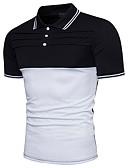 זול טישרטים לגופיות לגברים-קולור בלוק צווארון חולצה Polo - בגדי ריקוד גברים כותנה