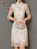 tanie Sukienki-Damskie Wyjściowe Moda miejska Pochwa Sukienka - Kwiaty Kołnierz stawiany Wysoka talia Nad kolano