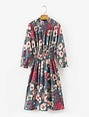 זול שמלות נשים-מידי דפוס, פרחוני - שמלה נדן כותנה בגדי ריקוד נשים
