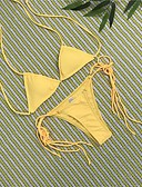 cheap Bikinis-Women's Strap Black Red Yellow Bikini Swimwear - Solid Colored Backless S M L Black / Sexy