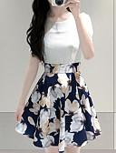 baratos Vestidos de Mulher-Mulheres Delgado Evasê Bainha Vestido - Pregueado Estampado, Floral Cintura Alta