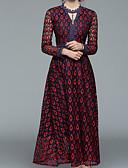 זול חולצה-צווארון V מידי פרחוני - שמלה נדן בסיסי בגדי ריקוד נשים