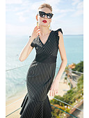 cheap Women's Dresses-Women's Sophisticated Cotton Trumpet / Mermaid Dress - Striped Lace V Neck