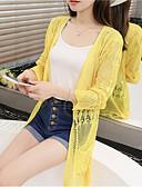 זול חולצה-בגדי ריקוד נשים בז' צהוב פוקסיה מידה אחת ג'קט ארוך רגיל אחיד תחרה ליציאה
