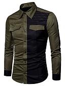 tanie Męskie koszule-Puszysta Koszula Męskie Wojsko Bawełna Kolorowy blok / Długi rękaw
