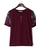 hesapli Tişört-Kadın's Tişört Desen, Çiçekli Temel YAKUT / Dantel