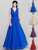 Χαμηλού Κόστους Φορέματα κοκτέιλ-Γραμμή Α Λαιμόκοψη V Μακρύ Σιφόν Φόρεμα Παρανύμφων με Φιόγκος(οι) Ζώνη / Κορδέλα Πλαϊνό ντραπέ με LAN TING BRIDE®