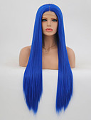 cheap Women's Pants-Synthetic Lace Front Wig Straight Layered Haircut Synthetic Hair Heat Resistant Blue Wig Women's Long Lace Front / Yes
