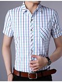 זול חולצות לגברים-משובץ בסיסי חולצה - בגדי ריקוד גברים דפוס