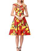 olcso Női ruhák-Női Vintage Pamut A-vonalú Ruha - Nyomtatott, Gyümölcs Térdig érő Citrom