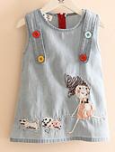 お買い得  女児 ドレス-幼児 女の子 日常 / 祝日 パッチワーク 刺繍 ノースリーブ コットン / スパンデックス ドレス ブルー / キュート