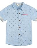 hesapli Gece Elbiseleri-Genç Erkek Günlük Desen Gömlek, Pamuklu Polyester Bahar Sonbahar Kısa Kollu Temel Doğal Pembe Koyu Mavi Açık Mavi