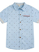 cheap Evening Dresses-Boys' Daily Print Shirt, Cotton Polyester Spring Fall Short Sleeves Basic Blushing Pink Navy Blue Light Blue