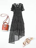 hesapli Gece Elbiseleri-Kadın's Sokak Şıklığı Şifon Elbise - Yuvarlak Noktalı, Dantel Desen Kırk Yama Diz-boyu