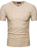 hesapli Erkek Tişörtleri ve Atletleri-Erkek Pamuklu V Yaka İnce - Tişört Solid Sokak Şıklığı Spor Beyaz / Kısa Kollu / Yaz