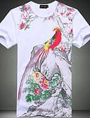 tanie Koszulki i tank topy męskie-T-shirt Męskie Wzornictwo chińskie Okrągły dekolt Kwiaty / Zwierzę / Krótki rękaw