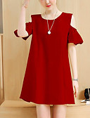 cheap Women's Dresses-Women's Plus Size Basic Cotton Shift Dress - Solid Colored Red / Summer