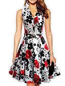 baratos Leggings para Mulheres-Mulheres Moda de Rua Bainha Vestido Floral Altura dos Joelhos