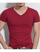 お買い得  メンズTシャツ&タンクトップ-男性用 Tシャツ ベーシック Vネック ソリッド / 半袖