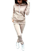 cheap Women's Two Piece Sets-Women's Hoodie - Solid Colored Pant Hooded / Spring