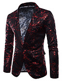 ieftine Blazer & Costume de Bărbați-Bărbați Petrecere / Ieșire Activ Regular Blazer, Curcubeu În V Manșon Lung Bumbac / Poliester Jacquard Negru / Roșu-aprins / Curcubeu XL / XXL / XXXL