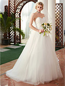 cheap Wedding Dresses-Princess Sweetheart Neckline Sweep / Brush Train Lace / Tulle Made-To-Measure Wedding Dresses with Appliques by LAN TING BRIDE®