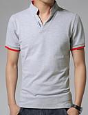 olcso Férfi pólók-Utcai sikk Állógallér Férfi Polo - Egyszínű / Rövid ujjú