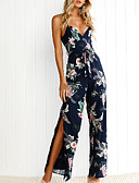 cheap Women's Jumpsuits & Rompers-Women's Floral Split Daily / Holiday Basic Strap Navy Blue Wide Leg Slim Jumpsuit, Floral Print M L XL High Waist Sleeveless Summer / Sexy