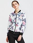 ieftine Leggings-Pentru femei Zilnic / Sport Șic Stradă Primăvară / Toamnă Regular Jachetă, Floral / Botanic Stand Manșon Lung POLY Alb