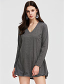 cheap Women's Dresses-Women's Cotton Loose Loose Dress - Solid Colored High Rise V Neck
