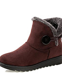 billige Damestøvler-Dame Sko Tekstil Vinter Snøstøvler Støvler Flat hæl Ankelstøvler Svart / Brun / Vin
